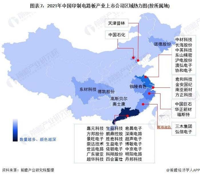 图表7:2021年中国印制电路板产业上市公司区域热力图(按所属地)