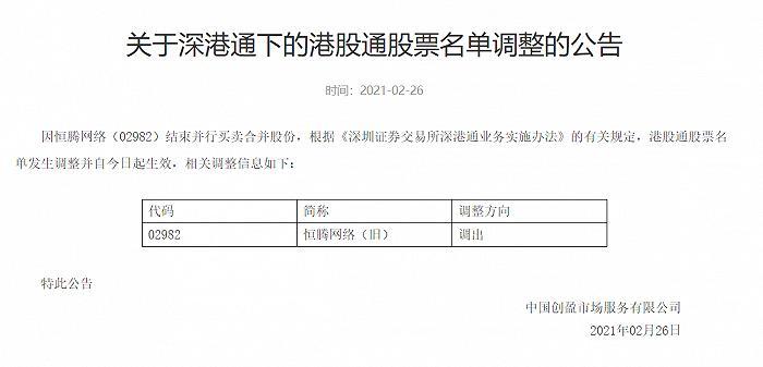深交所:将恒腾网(旧)转出港股通的股票列表