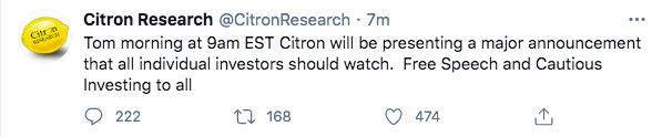 对冲基金citron:将会有关于言论自由和谨慎投资的重大事件宣布