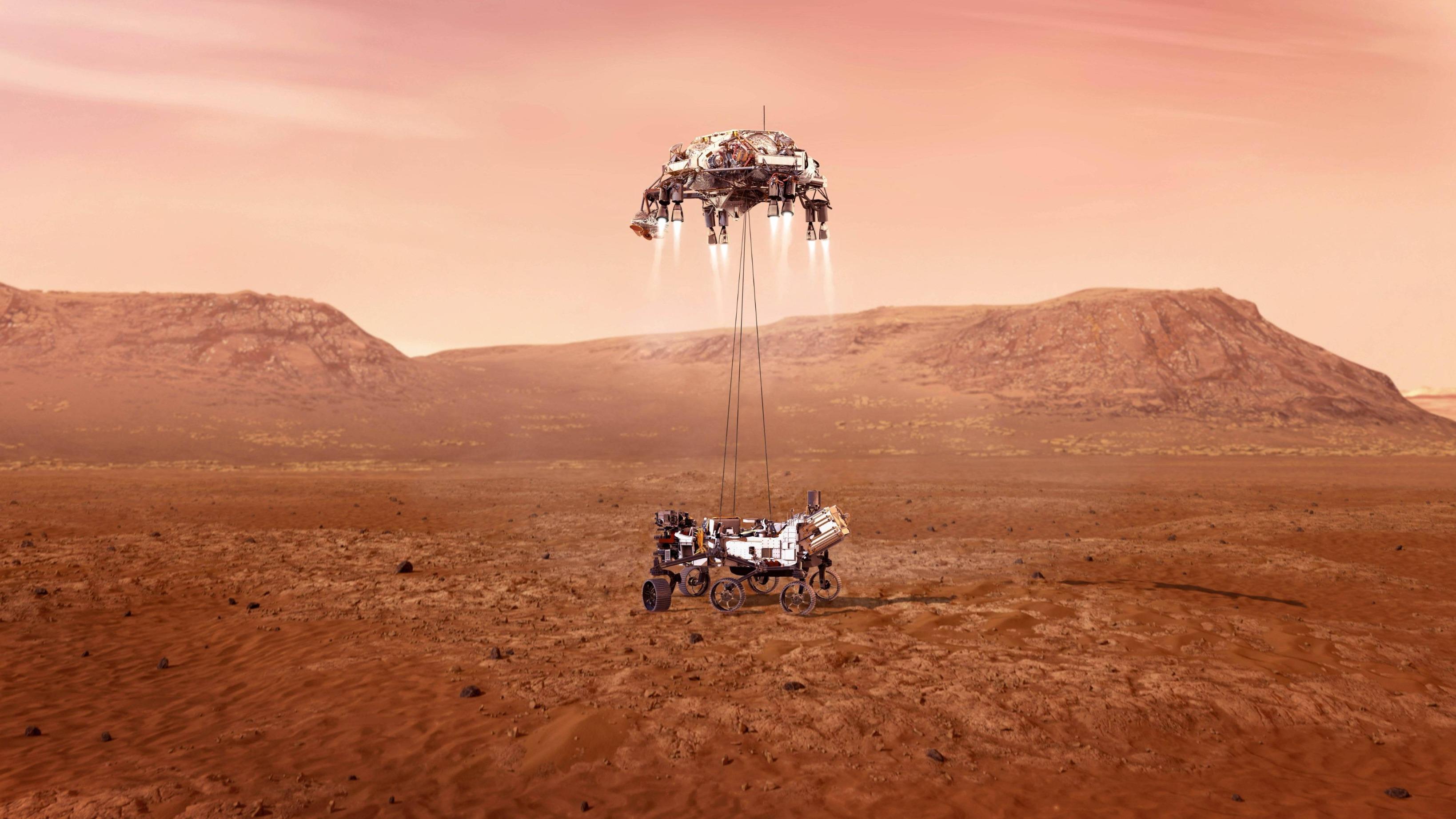 """美国""""毅力""""号火星车完成着陆后首次行驶测试"""