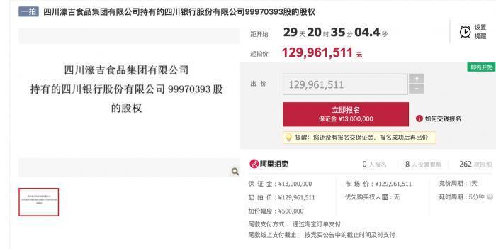 四川银行近1亿股权将拍卖起拍价约1.3亿元 股东方涉借款纠纷