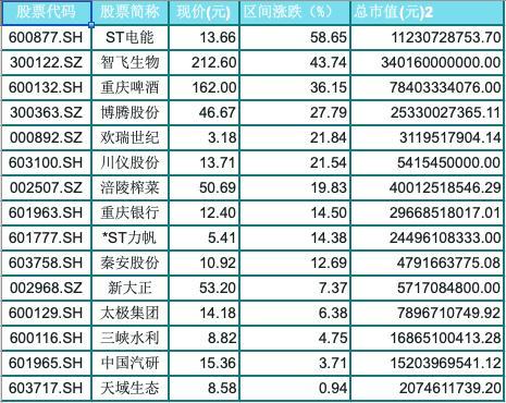 今年排名前三的股票上涨了:圣力、志飞生物和重庆啤酒