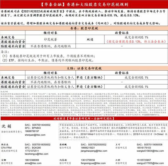 华泰金融:香港和Mainland China股票交易印花税规则