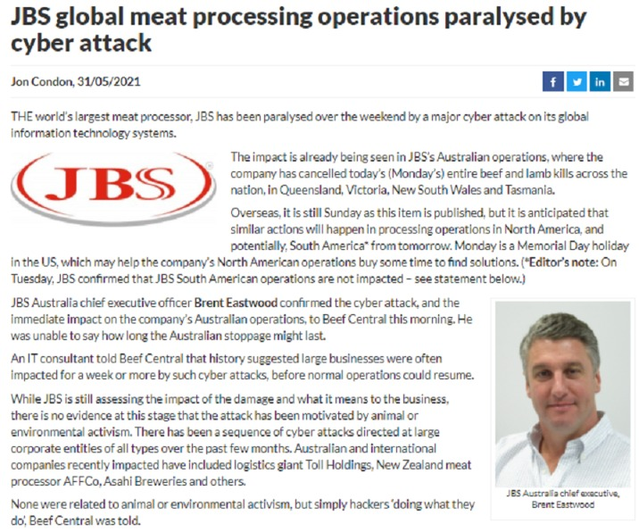 全球最大肉类供应商遭黑客攻击多地暂停营业!又要敲诈?美国刚刚遭受