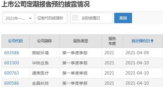 财经快讯:上交所一季报预披露时间表出炉 高能环境率先披露