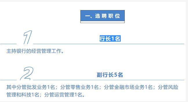 公开选聘职业经理人 渤海银行大手笔招正副行长6名