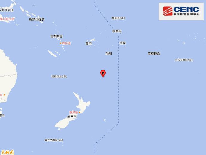 新西兰克马德克群岛发生7.8级地震,震源深度10公里