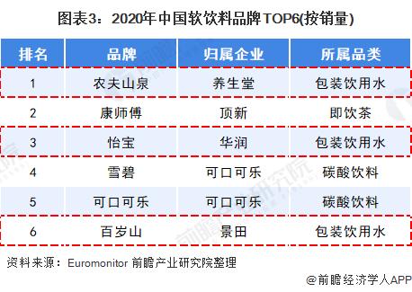 图表3:2020年中国软饮料品牌TOP6(按销量)