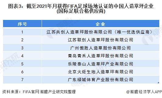 图表3:停止2021年代得到FIFA足球园地认证的中国人造草坪企业(国际足联及格供给商)