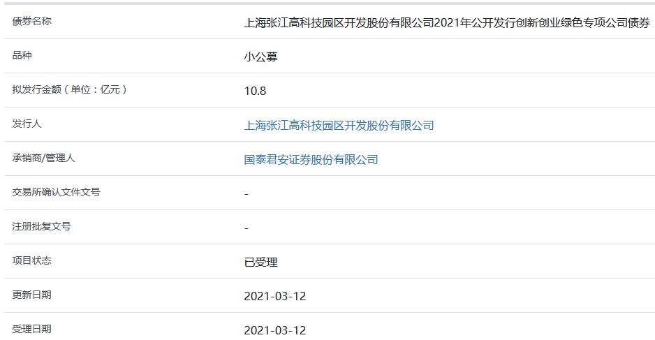 张江高科10.8亿元创新创业绿色专项公司债券获上交所受理-中国网地产