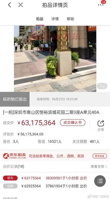 45万一平!落马官员深圳豪宅228�O成交6317万