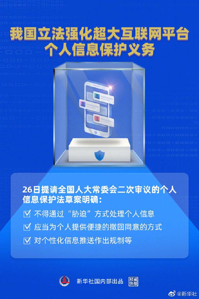 中国立法加强了保护超大型互联网平台上个人信息的义务