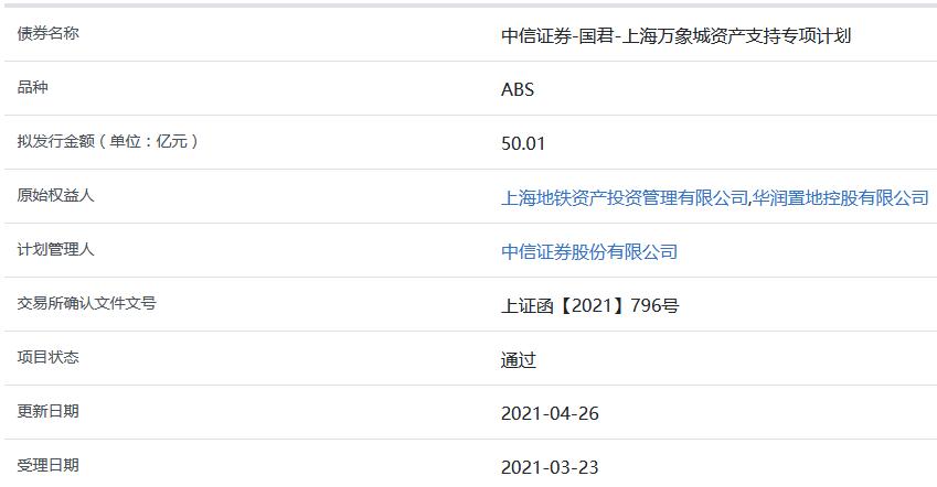 华润置地上海万象城50.01亿元ABS获上交所通过-中国网地产