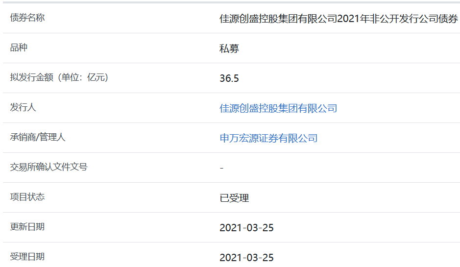 嘉园创盛36.5亿元的私募股权债券被上海证券交易所接受