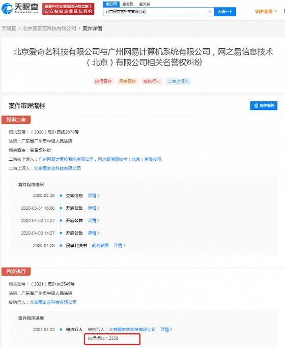 爱奇艺诉网易侵犯名誉权被驳回 被强制执行2350元