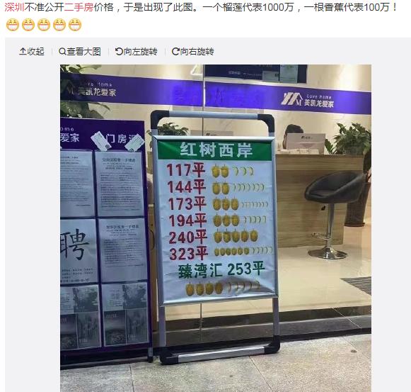 又火了!一个榴莲是1000万,一个香蕉是100万?深圳房产中介竟然显示这样的挂牌价